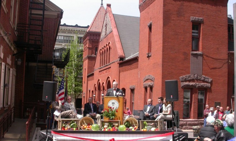 Re-opening day celebration, May 2011.  The mayor and other  officials offered acknowledgements for the several years of  work and millions of dollars invested in successful renovations.