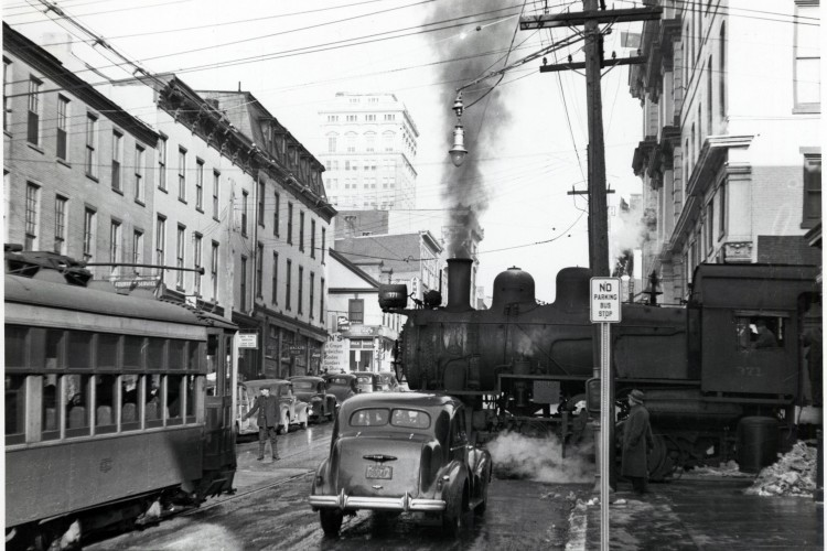 West King Street, c.1940, was a busy city artery with traffic of  every sort moving through the city.