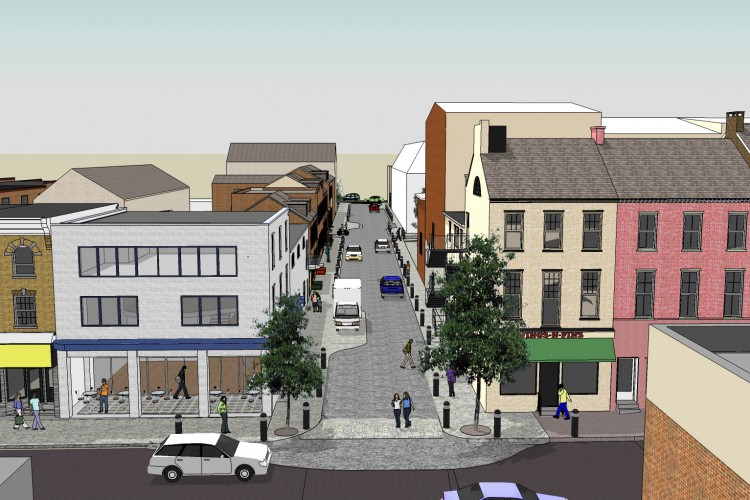 A re-imagined West King Street with key design elements to support Urban Regeneration.