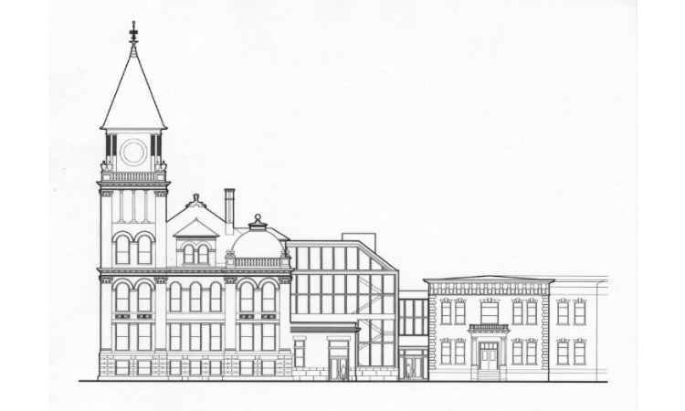Proposed rear addition, designed to be compatible with, yet distinct from the historic City Hall and adjacent Forest Oil Company Headquarters.