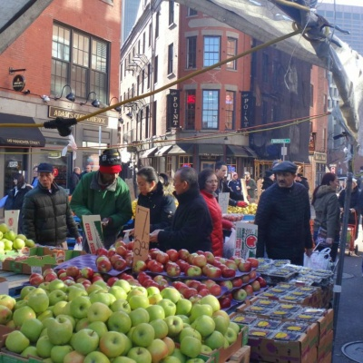 The street market outside the new Boston Public Market; this was typical of the old Haymarket that functioned on this spot since the 17th century.