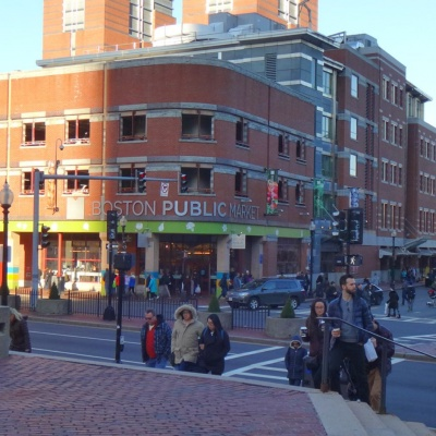 Boston's new Public Market opened in 2015 next to the historic Haymarket Square